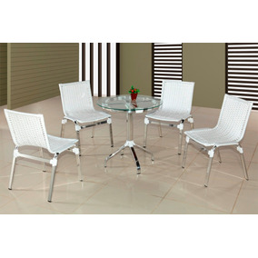 Conjunto,cadeira,fibra Sintética,alumínio,área Externa.