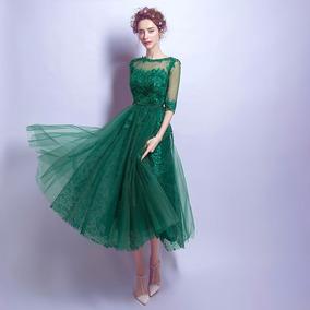 Vestido De Fiesta Verde Envío Gratis A Tu Domicilio !