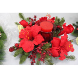Arranjo De Mesa Natal Vermelho Com Vela Perfumada