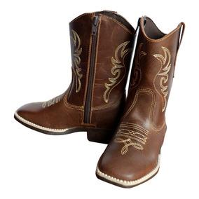 Bota Country Texana Infantil Marrom Masculina Menino Couro