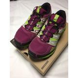 Zapatillas Salomon Violetas Y Verdes Como Nuevas