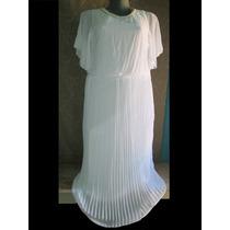 Vestido Largo De Gala Blanco Con Perlas En 3x Extragarnde