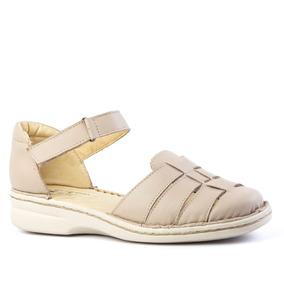 Sandália Feminina 362 Em Couro Bege Doctor Shoes