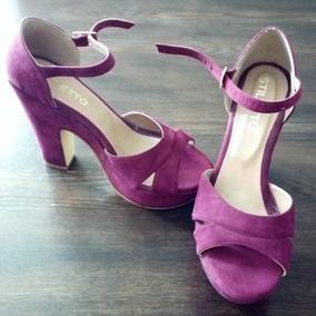 Sandalias De Gamuza Púrpura