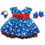 Vestido Infantil Poa Azul Galinha Pintadinha E Tiara