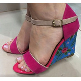Sandália Anabela Peep Toe Sapato Feminino Rosa Florida Verão