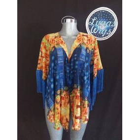 Kimono Chalina Casual Chiffon Verano Playa Con Fleco