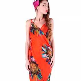Pareo Tipo Vestido Unitalla Floreado Color Naranja M6205