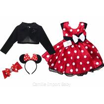 Vestido Minnie Vermelho 1-3 Anos Com Bolero E Tiaras