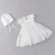 Vestido Branco P/ Bebês Com Touca P/ Batizados Ou Reveillon
