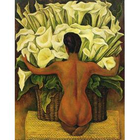 Lienzo, Tela, Diego Rivera, Desnudo Con Alcatraces, 70x90cm