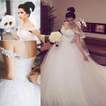 Vestido Noiva Ombro Caido Bordado De Renda Rodado Princesa