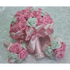 3 Buque Noiva E Daminhas Rosa Com Pérolas