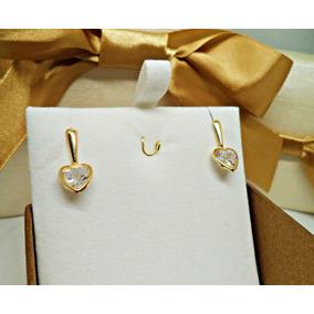 7bd016821ec Brinco Ouro 18k Palito Com Coração De Zirconia - Joias e Relógios no ...