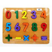 Tabla Madera Encajar Números Juego Didáctico Matemático