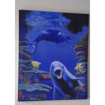 Oleo Sobre Tela El Delfín Fondo Azul Con Animales De Mar