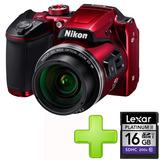 Cámara Nikon Coolpix B500 16mpx Full Hd + 32gb Rojo.