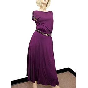 Gucci Mujer Púrpura Rayon Runway Vestido Con Cinturón De Cu