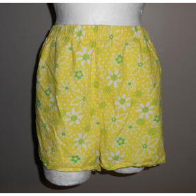Fresco Short De Pijama Amarillo Con Flores, Talla 2x