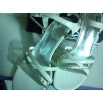 Ideal Novias- Sandalia Blanco -plata -combinada