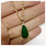 Pingente Pedra Natural Esmeralda Indiana De Ouro 18k - 750
