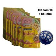 Kit Para Gatos 10 Sachês Friskies Salmão 85g E Bolinha Guizo