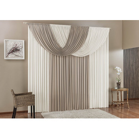 Cortina Decorativa Suellen Para Quarto Ou Sala Cinza 4m