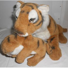 Pelúcia Tigresa 80cm Carregando Filhote Tigre 28cm Na Boca
