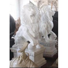 Escultura Par De Leões Em Mármore Carrara Italiano