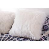 Almofada Pelo Branca 50x50 Com Enchimento Fibra Siliconizada