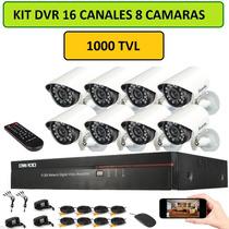 Kit Dvr 16 Canales 8 Camaras 1000tvl Sistema Seguridad Combo