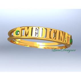 Anel Ouro18k,escrito Medicina,pedra Natural,todas Profissões
