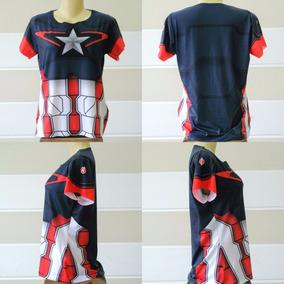 Camiseta Uniforme Baby-look Capitão America Guerra Civil