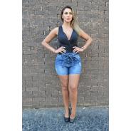 Shorts Sol Jeans Clochard Cintura Alta Com Cinto E Lycra Azu