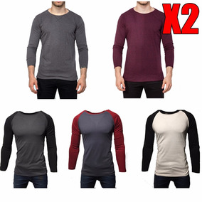 Pack X 2 Remeras Entalladas Slim Fit Manga Larga Bicolor