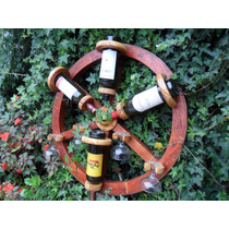 Bodega Rueda De Carro Para 4 Botellas Y 4 Copas