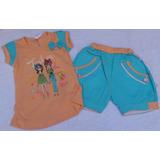 Conjunto Franela Y Short Camisa Azul Ropa Bebe Niña
