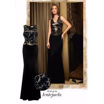 Vestido Largo Fiesta Noche Negro Oro 902081 Tallas Ch - Xl