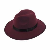 Sombrero Ala Ancha Vintage Hipster Funky Excelente Tinto