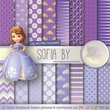 Kit Imprimible Pack Fondos Princesa Sofia Disney Clipart