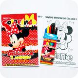 20 Kit Revista Giz Minnie Mickey Mouse Festa Lembrança