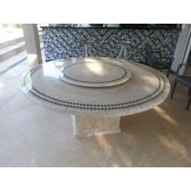 Mesa Mosaico Base Em Travertino Modelo Alentejo 1.60 Diametr