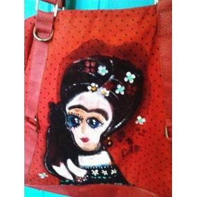Cartera Pintada A Mano . Motivo Frida Khalo