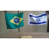 Bandeira Dupla Israel E Brasil - De Mesa Feito Em Israel