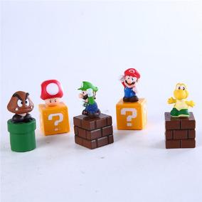 5 Bonecos Super Mário Bros C/ Acessórios Raro Colecionador
