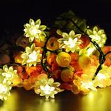 Luces Decorativas Solar 30 Flor 6 Mts Amarilla Para Jardin