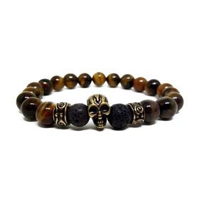 Pulseira Bracelete Masculina Feminina Zen Caveira Pedra