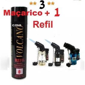 3 Mini Maçarico + Refil De Gás + Brinde