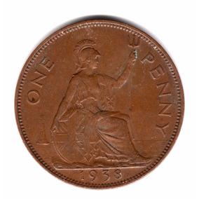Moneda Inglaterra Gran Bretaña 1 Penny 1938 Km#845 Cobre