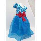 Vestido Infantil Galinha Pintadinha Azul Com Vermelho